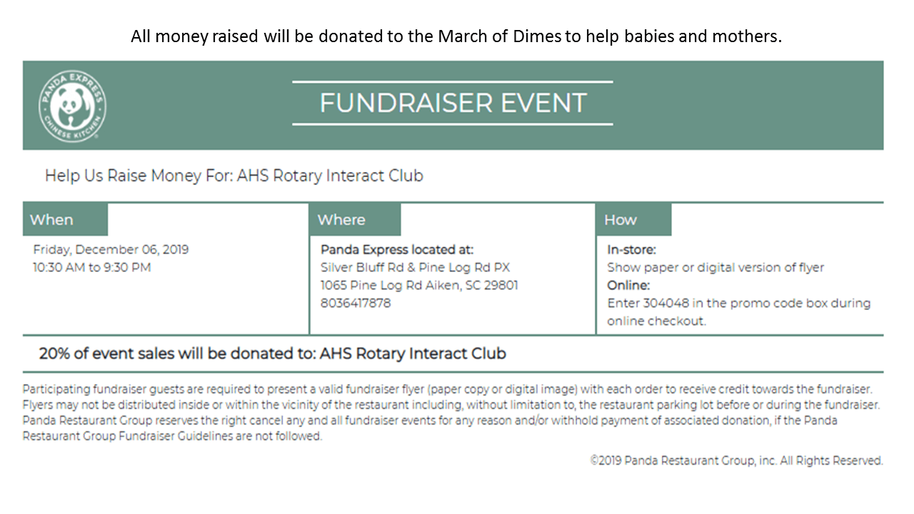 Panda Express Fund-raiser